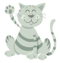 Funny tabby cat cartoon animal character vector