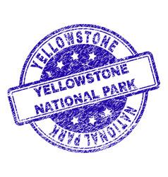 Grunge textured yellowstone national park stamp vector