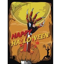 Halloween hand robot kill pumpkin vector