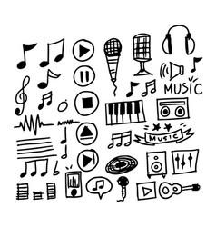 hand draw music icon vector image
