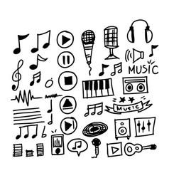 hand draw music icon vector image