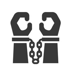 hand with handcuffs police related solid icon vector image