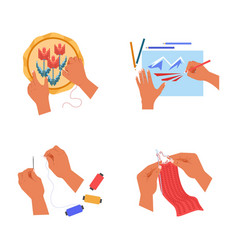 Handicrafts human hands or palms embroidery and vector