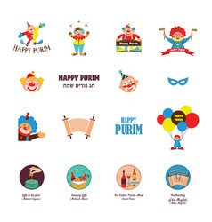 happy purim jewish holiday traditional icons vector image