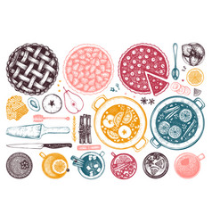 hot drinks homemade pies and desserts collection vector image