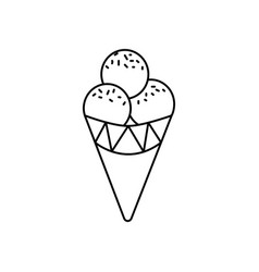 ice cream cone line icon sign vector image