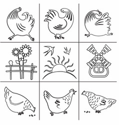 icons poultry yard-03 vector image