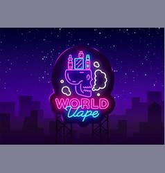 Logo electronic cigarette in neon style vape shop vector