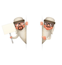 Look out corner cute arab businessman man 3d vector