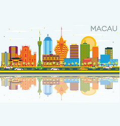 Macau china city skyline with color buildings vector