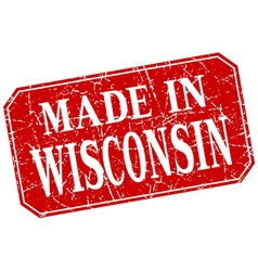 made in Wisconsin red square grunge stamp vector image