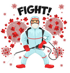man fighting against corona wuhan virus covid-19 vector image
