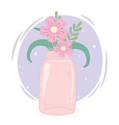 mason jar pink flowers decoration ornament vector image
