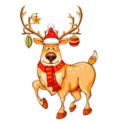 Merry christmas cartoon reindeer vector