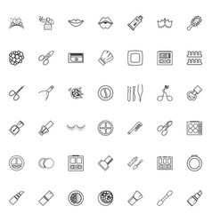 minimalist icons cosmetics line art style makeup vector image