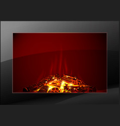 modern fireplace with fire vector image