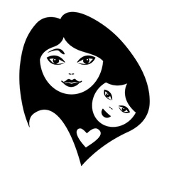 Mother and baby silhouettes vector