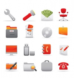 office icons red vector image vector image