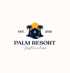 palm tree house logo template isolated in white vector image