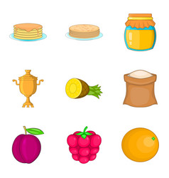 Pancake icons set cartoon style vector