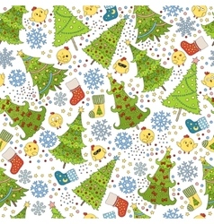 Pattern with Christmas tree snowflake and chicken vector image