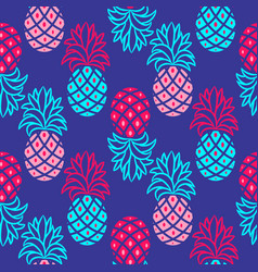 Pineapple blue and pink bright seamless vector