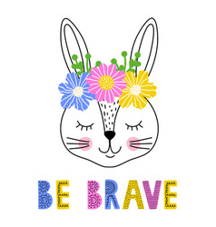 Rabbit with floral wreath vector