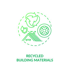 Recycled building materials green concept icon vector
