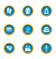 Relaxing bath icons set flat style vector