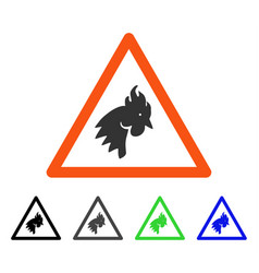 Rooster warning flat icon vector