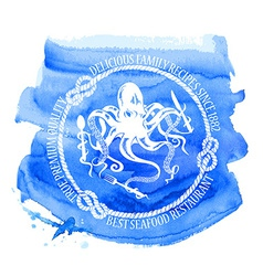 Seafood restaurant emblem with octopus vector image