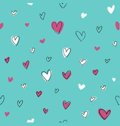 Seamless hand drawn hearts pattern vector