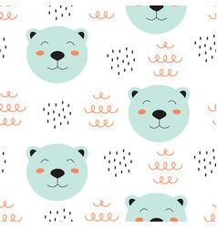 seamless pattern with face bear vector image