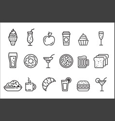 set linear food and drink icons tasty vector image