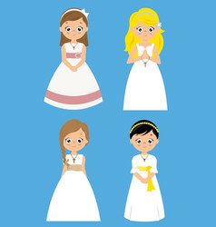 Set of four girls with ceremony dress vector