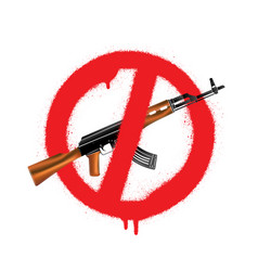 Sign no weapon kalashnikov assault rifle vector
