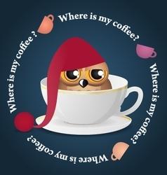 Sleepy owl and dance colored coffee cups vector