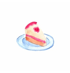 Slice or piece of birthday cake Watercolor object vector