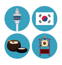 South korea round icons vector