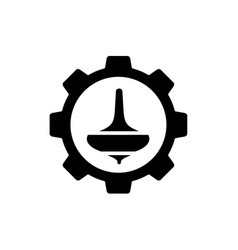 spin top gasing combined with gear symbol vector image