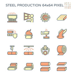 Steel and metal production industry icon set vector