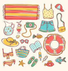 summer doodle set elements on light background vector image