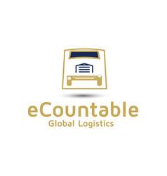 Tracking logistics logo design idea vector
