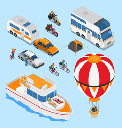 Traveling people isometric set vector