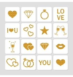 Valentines day golden glitter design elements vector image
