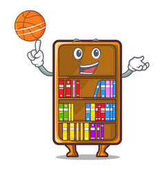 With basketball mascot bookcase beside the study vector