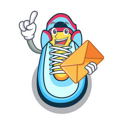 with envelope cartoon pair of casual sneakers vector image