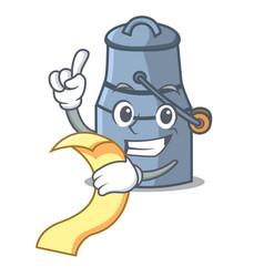 with menu milk can mascot cartoon vector image