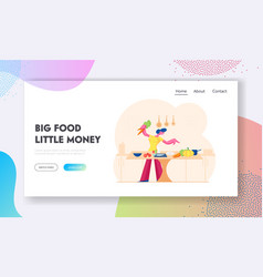 woman chopping vegetables website landing page vector image