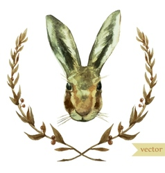 Wreath rabbit watercolor hare vector